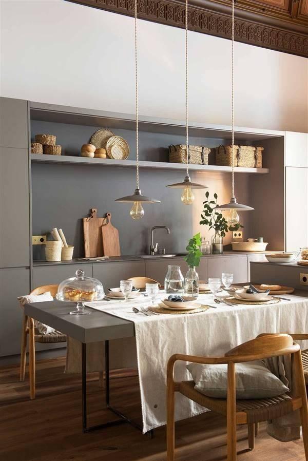Mesas integradas a la cocina