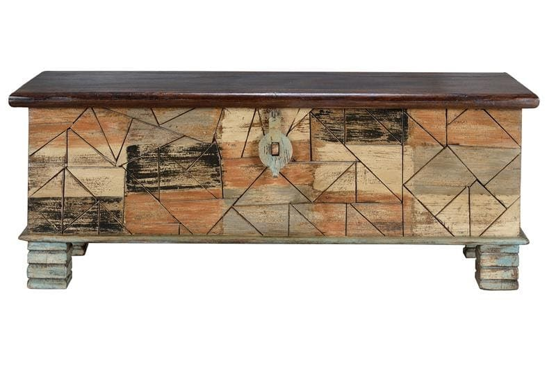 mesa baúl madera con cierre