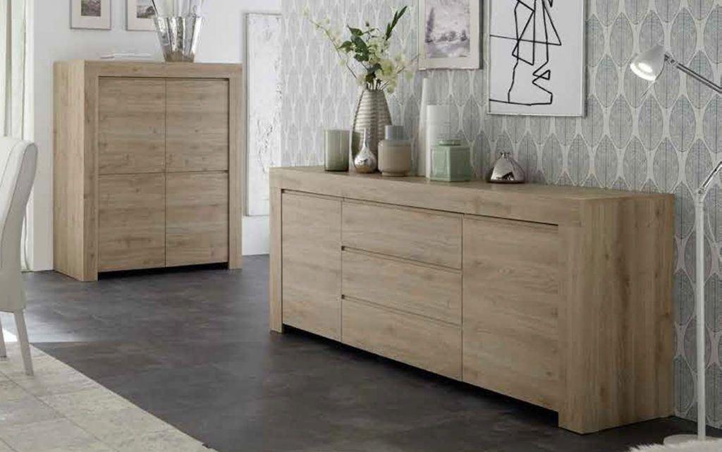 Aparadores con acabados en madera y líneas rectas