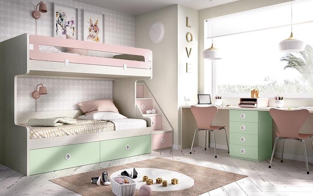 Litera de color pastel rosa y verde