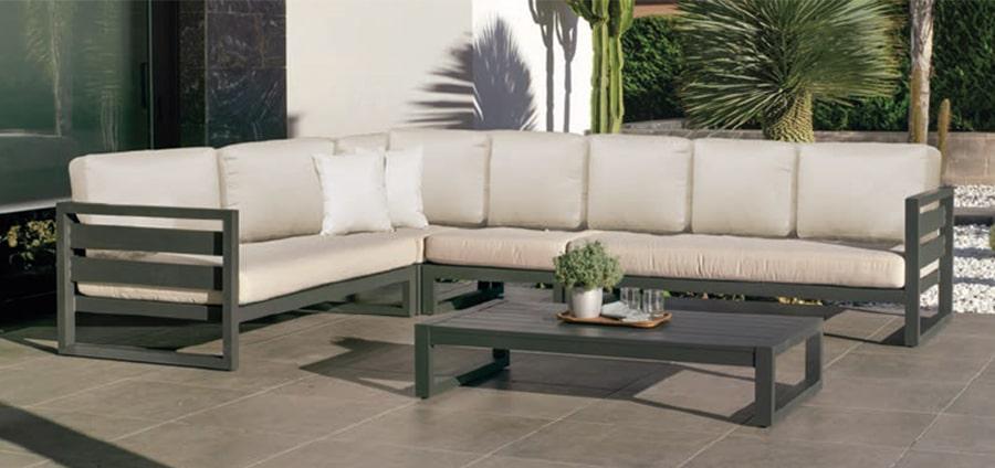 set rinconera en aluminio color antracita con tapicería Mirta beige Dralón