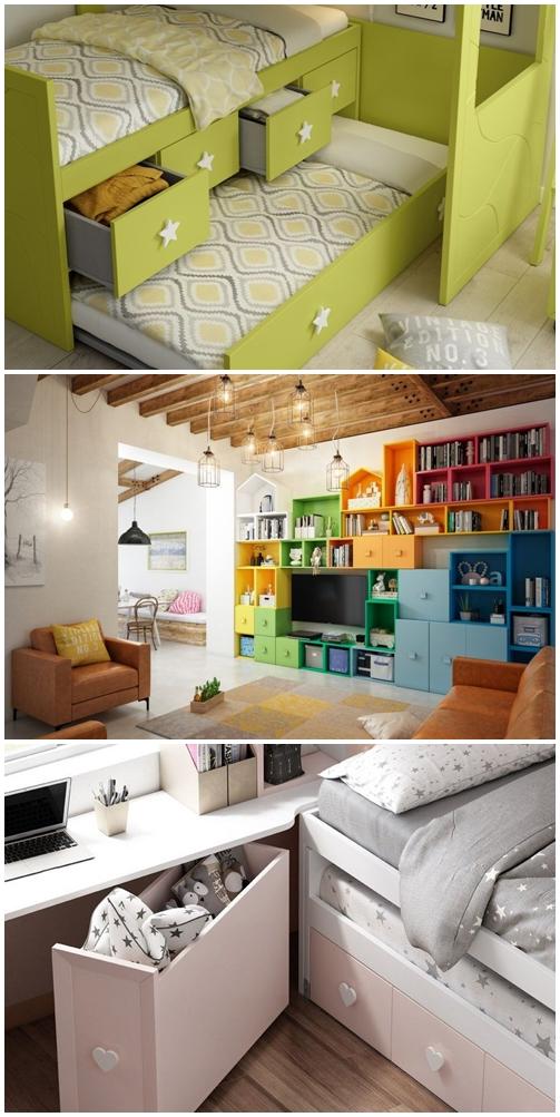 Habitaciones juveniles e infantiles con almacenaje